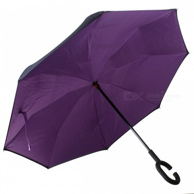C-Handle Double Layer Windproof Inverted Reverse Travel Umbrella for Car and Outdoor Use - Purple + Black