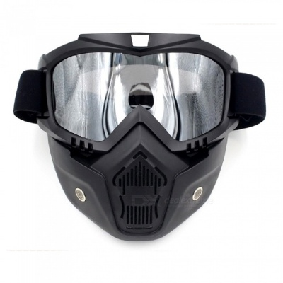 Stylish Motorcycle Helmet Mask Harley Goggles for Outdoor Bike Riding - Black + Silver