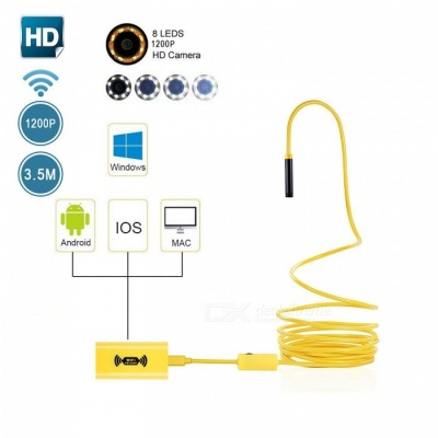 BLCR IP68 Wi-Fi 2.0MP 1200P HD Borescope Inspection Snake Camera with 8 Adjustable Led Lights (3.5M)