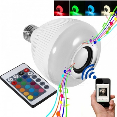 E27 6W Smart RGB Wireless Bluetooth Speaker Bulb with Remote Controller, Supports Music Playing - White