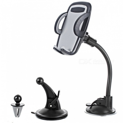 3-in-1 Car Holder Cradle Universal Air Vent Dashboard Windshield Mount for IPHONE Android Mobile Phones - Grey