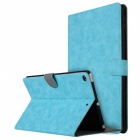 """Retro Frosted PU Leather Case Cover Wallet Cards Holder with Stand Function for 2017 9.7"""" IPAD - Blue"""