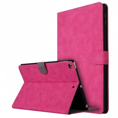 "Retro Frosted PU Leather Case Cover Wallet Cards Holder with Stand Function for 2017 9.7"" IPAD - Deep Pink"
