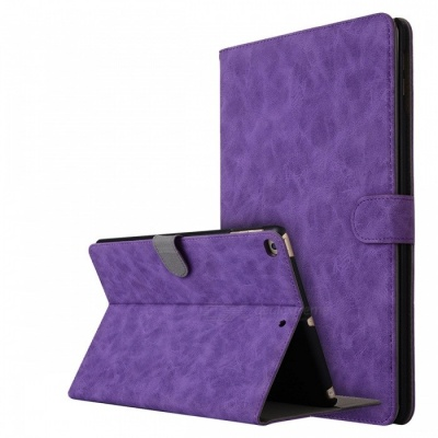 """Retro Frosted PU Leather Case Cover Wallet Cards Holder with Stand Function for 2017 9.7"""" IPAD - Purple"""