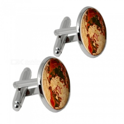 007 Alloy World Map Pattern Men's Cufflinks - Silver + Multicolor (1 Pair)
