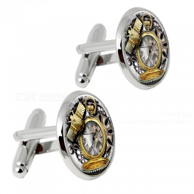 003 Alloy Clock Pattern Men's Cufflinks - Silver + Multicolor (1 Pair)