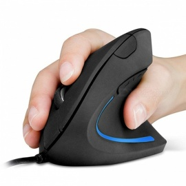 MIIMALL 1000DPI 6-Button Ergonomic Optical USB Wired Vertical Mouse - Black