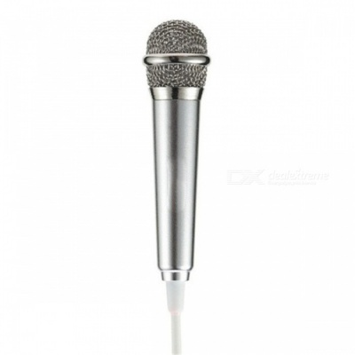 RMK-K01 Mini High Sensitivity Microphone with 3.5mm Audio Cable for Cell Phone, PC - Silver