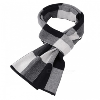 Classic Plaid Wool Thicken Men's Scarf - Gray + White + Black
