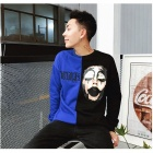 Men's Popular Fashion Long Sleeves Round Neck Cool Print Sweater - Blue + Black (L)