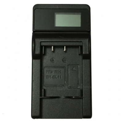 Ismartdigi EL11 LCD USB Camera Battery Charger for Nikon EN-EL11 EL11 - Black