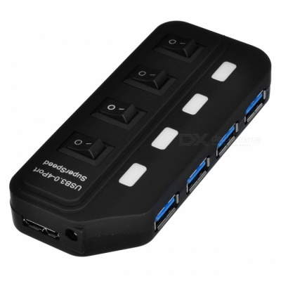 BSTUO 4-Port USB3.0 Hub with LED Indicator Light and Independent Switch - Black