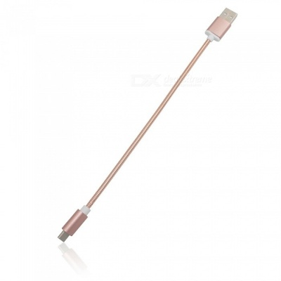 Mini Smile 3.4A Stainless Steel Spring Quick Charge Type-C USB 3.1 to USB Charging Cable - Rose Gold (24CM)