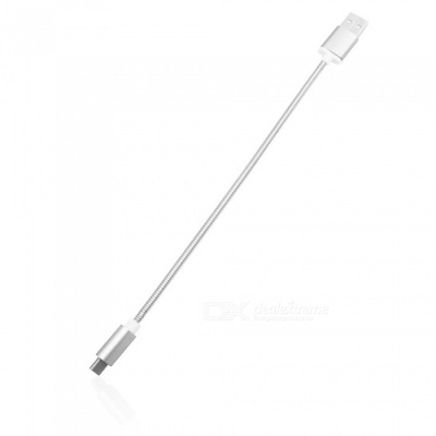 Mini Smile 3.4A Stainless Steel Spring Quick Charge Type-C USB 3.1 to USB Charging Cable - Silver (24CM)