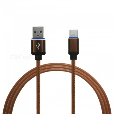 Mini Smile 3.4A Quick Charge Leather Type-C to USB Charging Data Cable for Samsung Galaxy Note 8 - Brown
