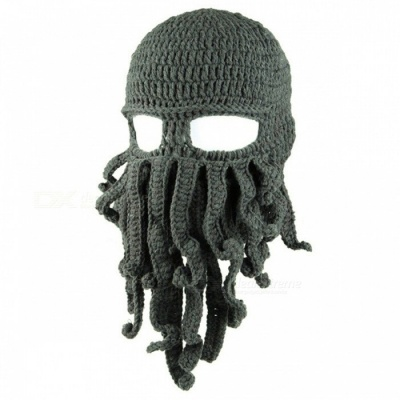 To Son's Gift Funny Tentacle Octopus Cthulhu Knit Beanie Hat Cap Wind Mask - Dark Gray