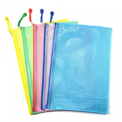 Office A4 File Paper Pocket Holder Document Zipper Bag - Assorted Color (5 PCS)