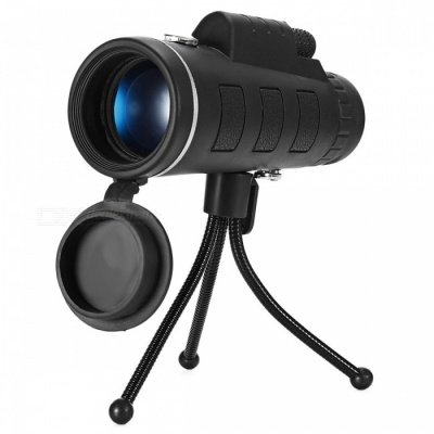 Outdoor 40X60 Night Vision Zoom Scope Monocular Telescope with Compass, Phone Clip Holder - Black