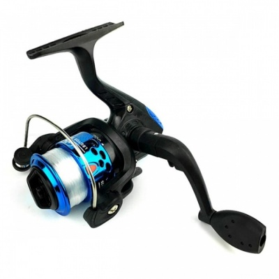 Spinning Wheel Type Electroplating Fishing Reel with 100m Line - Blue