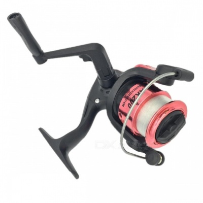 Spinning Wheel Type Electroplating Fishing Reel with 100m Line - Red