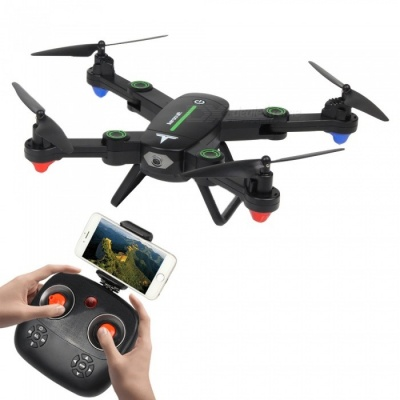 F16W 2.4GHz 4CH 6-Axis Wi-Fi FPV Foldable RC Helicopter Drone Quadcopter with 0.3MP Camera - Black