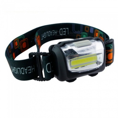 ZHAOYAO Waterproof Multifunctional COB 3-Mode Headlight - Black (3 x AAA Batteries Not Included)