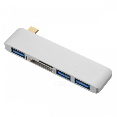 BSTUO USB3.1 Type-C to 3-Port USB 3.0 Hub with SD/TF Card Reader Function - Silver