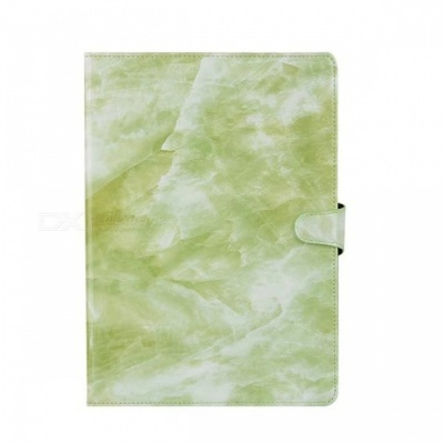 "Shockproof Flip-Open Full Body Marble Hard PU Leather Case with Stand, Card Holder for IPAD (2017) 9.7"" - Green"