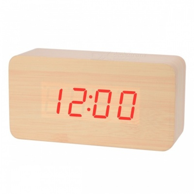 BSTUO Wooden Desktop LED Alarm Clock with Time, Temperature, Data Display - Light Brown