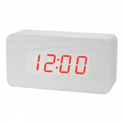 BSTUO Wooden Desktop LED Alarm Clock with Time, Temperature, Data Display - White