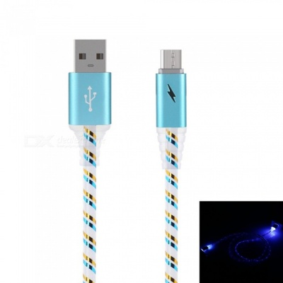 Stylish Micro USB 2.0 Data Sync Charging Cable with LED Flashing Light - Blue (1M)