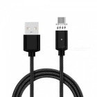 Cwxuan Micro USB Detachable Magnetic Braided Woven Charging Data Cable for Samsung / Huawei / Xiaomi - Black (1m)