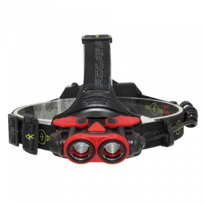 ZHAOYAO USB Rechargeable Long Range Super Bright 4-Mode 2-LED L2 Headlight for Night Riding - Red