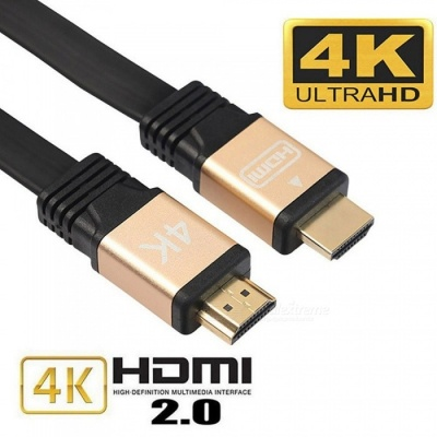 Cwxuan HDMI Male to HDMI Male 2.0 4K 3D Cable for HD TV LCD Laptop PS3 Projector Computer - Black (1.8m)