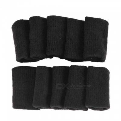 P-TOP 10Pcs Gear Finger Guard Bands Bandage Support Wraps, Arthritis Aid Straight Finger Stall Sleeve Protector - Black
