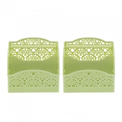Plastic Hollow Pattern Office Desktop Storage Organizer, Cosmetic Phone Pen Pencil Holder - Green (2 PCS)