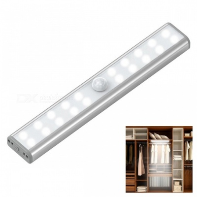20-LED USB Rechargeable LED Motion Sensor Night Light, Built-in Rechargeable 700mAh Battery - White