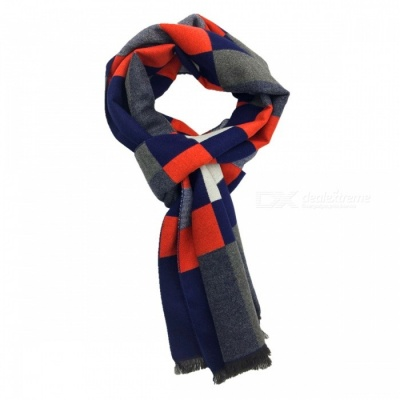 Winter Warm Fashion Men's Plaid Cashmere Scarf - Orange + Blue + Multicolor