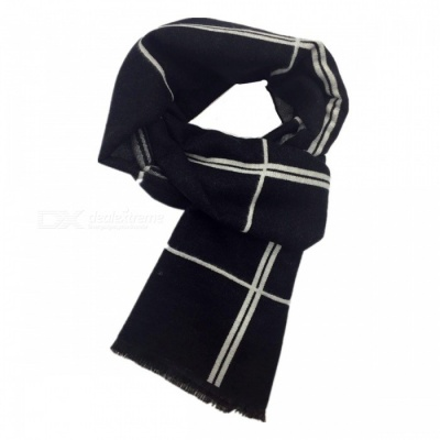 Winter Warm Fashion Men's Plaid Cashmere Scarf - Black + Grey + White