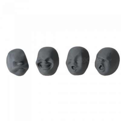 Vivid Face Expression Style Stress Reliever Relief Squeeze Toy - Black (Random Style)