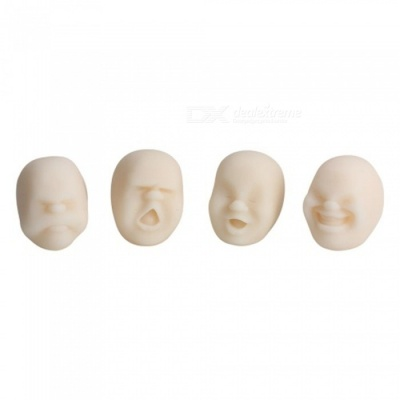 Vivid Face Expression Style Stress Reliever Relief Squeeze Toy - White (Random Style)
