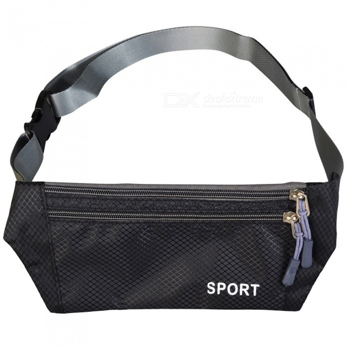 Multifunctional Waterproof Outdoor Sports Running Mobile Phone Lycra Waist Bag with Adjustable Strap - Black