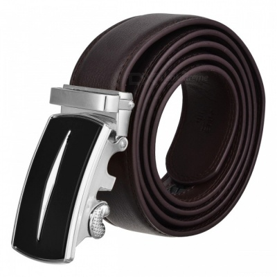 Axis Style Dual Layer Leather Belt with Automatic Buckle for Men - Brown + Silver