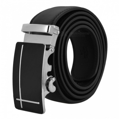 Cross-Shaped Style Leather Belt with Automatic Buckle for Men - Black + Silver