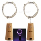 JRLED Decorative Bottle Stopper Style Waterproof 2M Purple Light 20-LED String Light - 2PCS