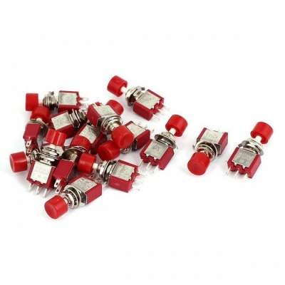 ZHAOYAO AC 120V 5A/ AC 250V 2A SPDT Momentary Mini Push Button Switch - Red (15 PCS)