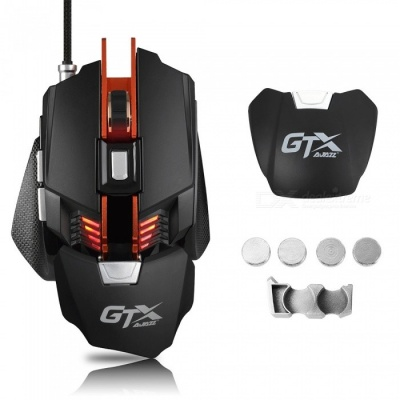 Ajazz GTX 4000 DPI 7-Button Wired USB 2.0 Optical E-sport Gaming Mouse, with Breathing LED Light, Adjustable Wrist Pad Weight