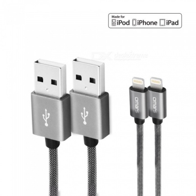 Omars 6ft 1.8m Nylon USB Charging Data Cable with Lightning Connector for iPhone iPad - Space Grey (2 PCS)
