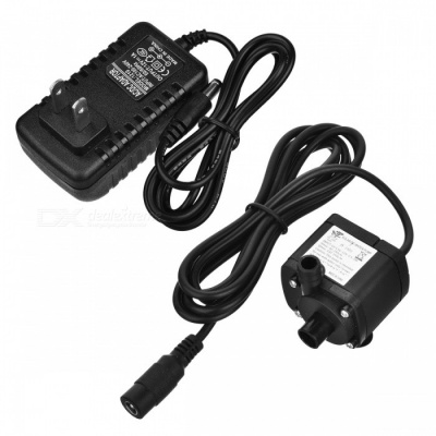 4.5~12V 180A Mini Submersible Water Pump with Power Adapter - Black