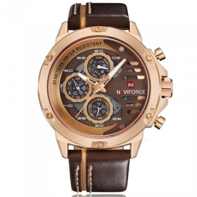 NAVIFORCE 9110 Men's Sports Army Leather Wrist Quartz Watch - Brown, Golden (Without Gift Box)